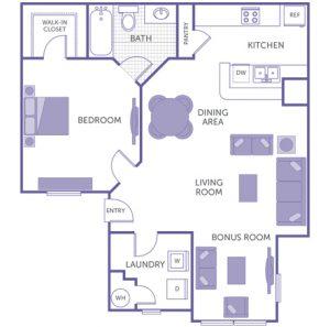 1 bed 1 bath floor plan, kitchen, dining room, living room, bonus room, 1 walk-in closet, washer and dryer in unit