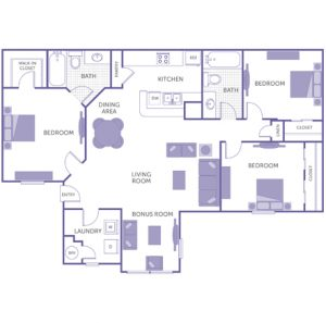3 bed 2 bath floor plan, kitchen, dining room, living room, 1 walk-in closet, 1 linen closet, 2 closets, washer and dryer in unit